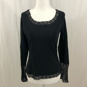 Cable & Gauge Top/Sweater, Size Small, Black